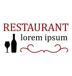 Restaurant signboard with bottle and glass vector