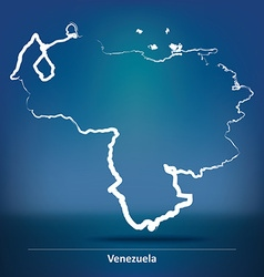 Doodle map of venezuela vector
