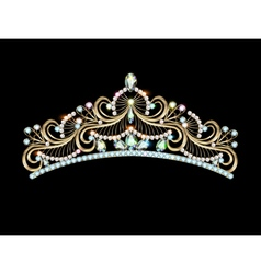 Womens gold diadem tiara vector