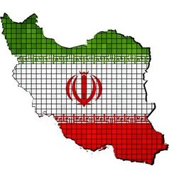 Iran map with flag inside vector