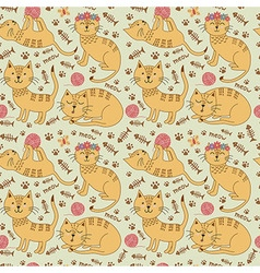 Seamless pattern with cute ginger cats vector