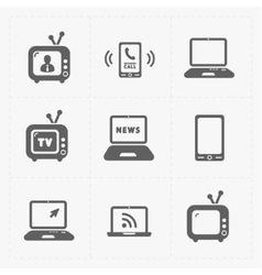 Media icons set on white background vector