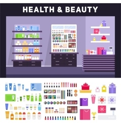 Beauty store with cosmetics on the shelves vector