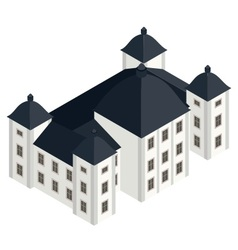 Isometric white baroque castle vector