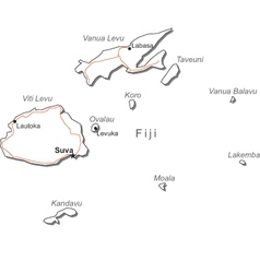 Fiji black white map vector