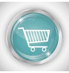 Shopping cart button icon social media design vector