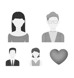 A man with glasses a girl with a bang a girl vector