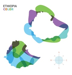 Abstract color map of ethiopia vector