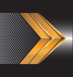 abstract gold arrow on gray metal circle mesh vector image vector image