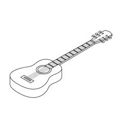 Acoustic guitar icon in outline style isolated on vector image