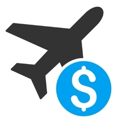 Airplane Price Flat Icon vector image vector image