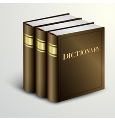 Brown dictionary book pile vector