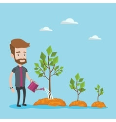Businessman watering trees vector image