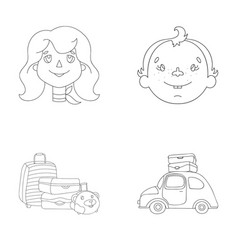 Camping woman boy bag family holiday set vector