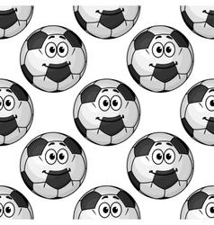 Cartoon cute soccer ball characters seamless vector