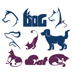 cats and dogs lovely pets vector image vector image