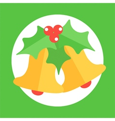 Christmas bell and mistletoe icon vector