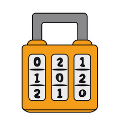 color image cartoon combination padlock with vector image