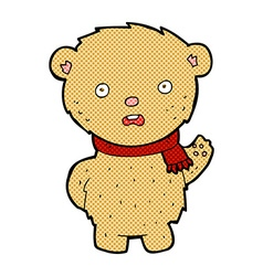 comic cartoon teddy bear wearing scarf vector image vector image