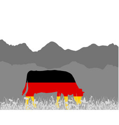 Cow alp and german flag vector
