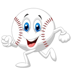 Cute baseball ball cartoon running vector