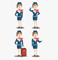 cute stewardess characters set vector image vector image