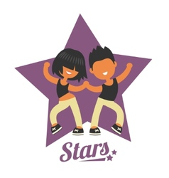 Dance school logo twosome dancers vector