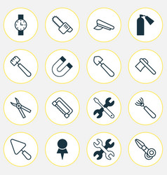 Equipment icons set collection of scoop tomahawk vector