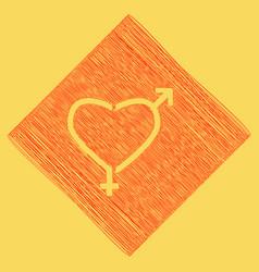 Gender signs in heart shape red scribble vector