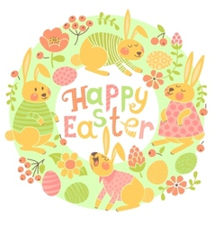 Happy Easter card with cute bunnies and colored vector image