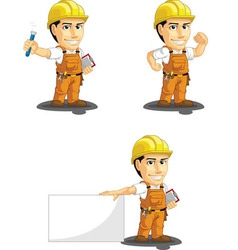 Industrial Construction Worker Mascot 7 vector image vector image