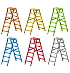 Ladders in six different colors vector image vector image