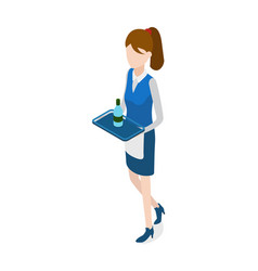 Restaurant walking waitress with tray in hands vector