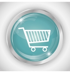 Shopping cart button icon social media design vector