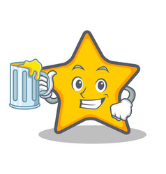 Star character cartoon style with juice vector