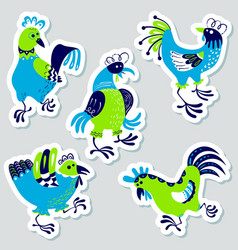 Stickers set with decorative roosters isolated vector
