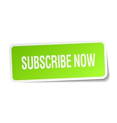 Subscribe now green square sticker on white vector