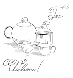 tea set vector image vector image