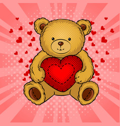 teddy bear toy with heart pop art vector image vector image