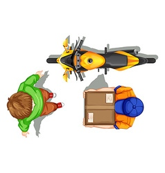 Top view of deliveryman and bike vector image vector image