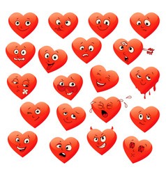valentines set of heart emotions vector image vector image