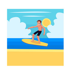 young man riding surfboard enjoying summer water vector image vector image