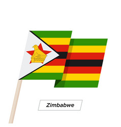 Zimbabwe ribbon waving flag isolated on white vector