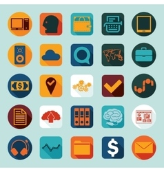 Set of business flat icons vector