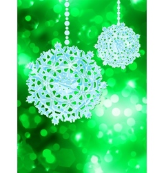 Green snowflake over bokeh eps 8 vector