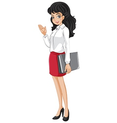 An office girl holding a binder vector