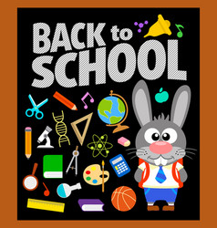 Back to school background with bunny vector