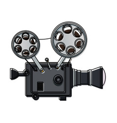 High detailed vintage film projector cinema icon vector