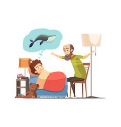 Grandfather bedtime story cartoon poster vector