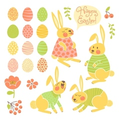 Set of elements for design happy easter vector